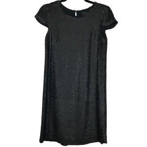 Theory Maryanka Sequin Silk Dress in Matte Black